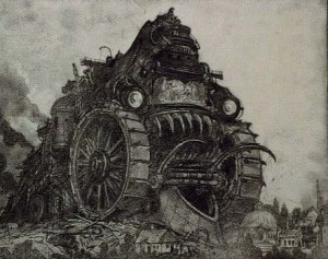 Fierce machine monster rolling over a city