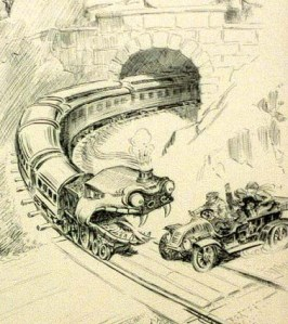Locomotive threatens an automobile at a road crossing