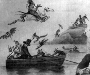 Lithograph of minister in boat surrounded by demons