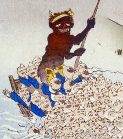 Monster on a raft collecting Buddhist worshippers, by Kobayashi Kiyochika