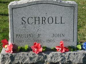 Pauline Schroll tombstone, 1910-1981