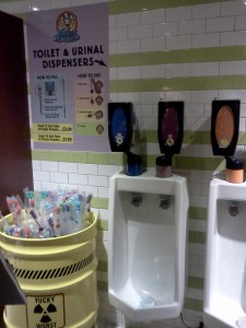 Urinals in the 'gross' room at the Willy Wonka store. They dispense flavored candy powder.