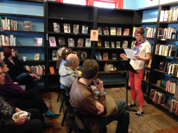 Reading to my rabid fans at Boxcar Books on April 6, 2014